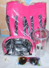 Victoria's Secret Pink Limited Edition Tote + Make Up Bag + Tumbler + Sunglasses