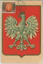 MAXIMUM CARD, POSTAL HISTORY, POLAND: National Shield White Eagle, Military 1938