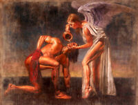 No framed Oil painting nice young angel girl feeding strong man - drinking water