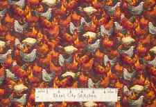 Roosters VIP Roost Chicken Hen Farm Animal Farming Fowl Cotton Fabric YARD