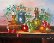 FRUIT, CANDLE AND WINE Signed Original Canvas Art Oil Painting