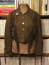 Vtg WORKERS FOR FREEDOM brown suede tassel fringe biker moto jacket S UK 8 US 4