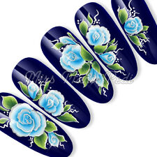 Nail Art Long Nails Water Decals Transfers Stickers Oriental Blue SL025B Silver