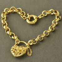 Arab vogue 18K Gold Plated Womens Hollow Heart Chain Link Bracelet 8.7'' Z4269