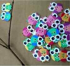 New 50pcs Mini Cute Owl Cartoon Wooden Button 2 Holes Kid Baby's Bouton Craft US