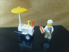Minifigures LEGO CITY: minifigs VENDEUR DE HOT-DOGS + STAND - Lot COMME NEUF