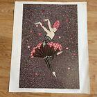 """Vtg. Erte ROSE DANCER, 1984 Print Unframed Art Deco Lady 21"""" X 17"""""""