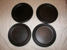 """4 Pottery Barn Round Wooden Plates - 14"""" Across"""