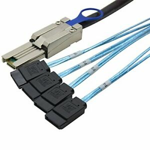 CableDeconn Mini SAS 26P SFF 8088 Male to 4 SATA 4Pin Female 1M 3.3FTCable with