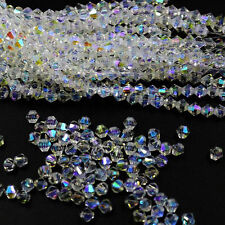 New #5301 jewelry 3mm Glass Crystal Bicone bead 1000pcs White AB