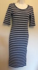 Next UK6 EU34 US2 new grey/black/silver stripe short-sleeve stretch fitted dress