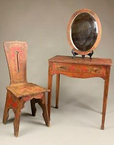 UNUSUAL DIMINUTIVE CARVED AND PAINT DECORATED VANITY WITH CHAIR & MIRROR.