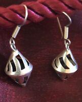 Vintage Sterling Silver 925 Modern Cone Perforated Hook Earrings