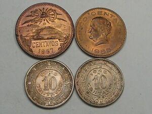 4 AU/UNC Coins of Mexico: 1957 20 Centavos, '55 5 Cent., '36 & '46 10 Cent.  #13