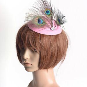 Lady Pillbox Hat Fascinator Handmade Hair Clip Peacock Crystal Accessory Wedding