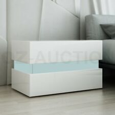 Bedside Table 2-Drawer Side Nightstand High Gloss Bedroom Cabinet WH w/RGB LED