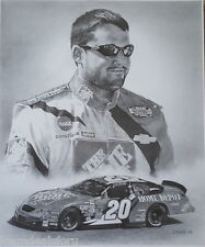 Tony Stewart NASCAR Driver Pencil Print Art Black & White Drawing Signed Picture
