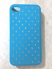Luxury Diamond Bling Hard Rhinestone Blue Case Cover For Apple iPhone 4 4s
