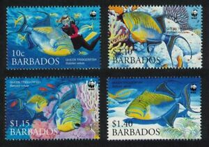 Barbados WWF Queen Triggerfish Diving 4v 2006 MNH SG#1290-1293