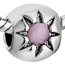 Pugster European charm- Silver with Pink Cat Eye Sunflower