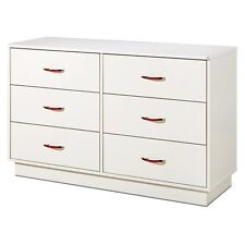 Logik 6-Drawer Double Dresser-Pure White, Pure White