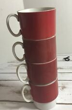 Stacking Cups Mugs (Set Of 4) Red Vintage Retro