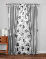 "5PC Window Panel Set: Gray White Floral Design, Pole Top, Tie Backs, 84"" Long"