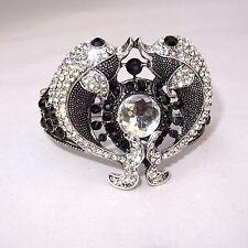 Trendy Black Silver Friendship Love Rhinestone Party Wedding Bangle Jewellery