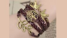 Life Tree, Bird and Leave Charms Leather Handmade Multilayer Bracelet Unisex