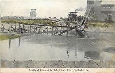 Sheffield Iowa~Sheffield Cement & Tile Block Co~Men Workers~Pulley Machine~1920