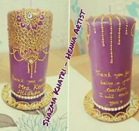 Personalised Henna Mehndi Candles Beautiful Wedding Party any occasion gift deco