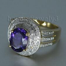 Solid 14K Yellow Gold Diamond Purple Amethyst Engagement Wedding Gemstone Ring