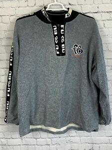 Fubu Vintage Mens 1/4 Zip Ribbed Sweatshirt Gray Size XL
