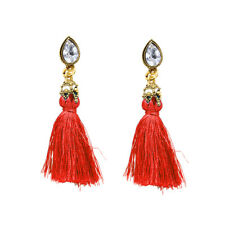 CRYSTAL  RED TASSLE EARRINGS BEACH HOLIDAY LADIES GIFT *UK SELLER*