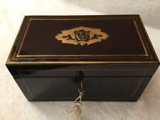 Regency Ebony and Brass Inlaid Tea Caddy   (011)