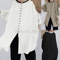 Mode Femme Chemise à Manche Tops Loisir Longue Boutons Casual Ample Shirt Plus