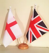 UNION JACK ST GEORGE 9X6 inch 22.5cm x 15cm TABLE FLAG TWIN SET WOODEN BASE