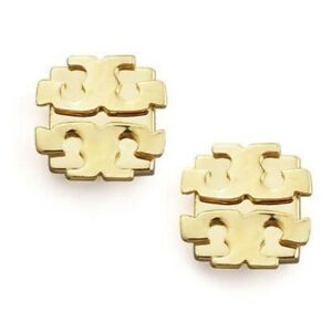 AUTHENTIC TORY BURCH LARGE T-LOGO GOLD STUD EARRINGS WITH POUCH NEW WITH TAGS