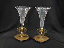 Antique Pair of FRENCH BRONZE BASE & CRYSTAL EPERGNE VASES