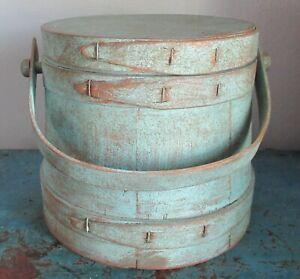 "7 1/8"" Vintage Firkin-Wood Sugar Bucket-Shaker Pantry Box-Blue-Paint-Primitive"