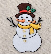 Iron On Embroidered Applique Patch Christmas Winter Snowman Top Hat Pipe