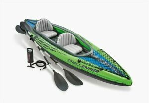 NEW Intex K2 Challenger Kayak 2 Person Inflatable Canoe + Aluminium Oars & Pump