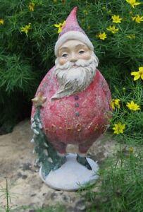 Christmas Red SANTA Figurine Sculpture w/Tree*Primitive Farmhouse Country Decor