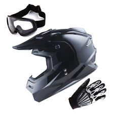 1Storm Adult Motocross Helmet Motorcross MX BMX Bike Glossy Black+Gloves+Goggles