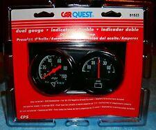 CarQuest #81523 Dual Guage Set Oil Pressure & Amp Gauge  Brand New