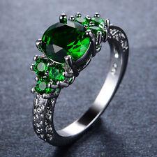 Emerald Green Wedding Ring CZ 10Kt White Gold Filled Sz M-V1/2 Women's Jewellery
