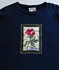 ZERO IN Women Navy Blue Embroidery Red Rose Cotton Blend Sweatshirt Top Size L