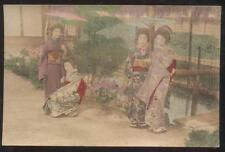 REAL PHOTO POSTCARD JAPAN 4 GEISHA GIRLS IN NATIVE DRESS/COSTUME 1910'S