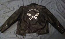 VINTAGE BLACK LEATHER MOTORCYCLE JACKET BIKER HOT ROD FORD HARLEY TROG 1%ER 38