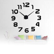 Horloge Murale Quartz 3D DIY Acrylique Miroir Autocollant Décoration Intérieure